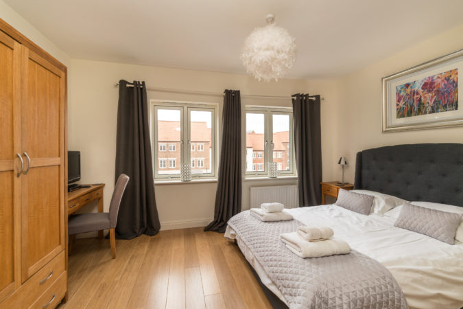 Abbey View House, Whitby. Master bedroom with en suite
