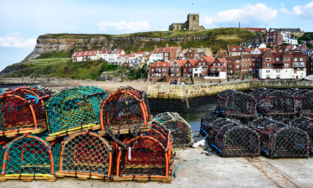 Crab pots at Whitby Quay, North Yorkshire, England