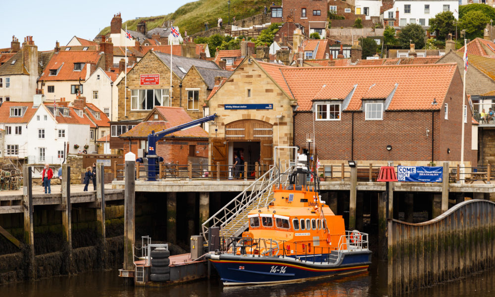 Lifeboat moored at Whitby Lifeboat Station.