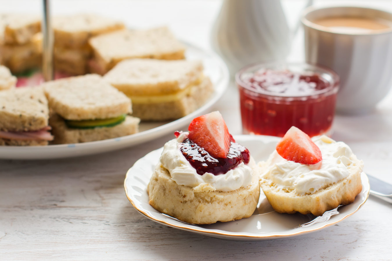 Traditional English afternoon tea: scones with clotted cream
